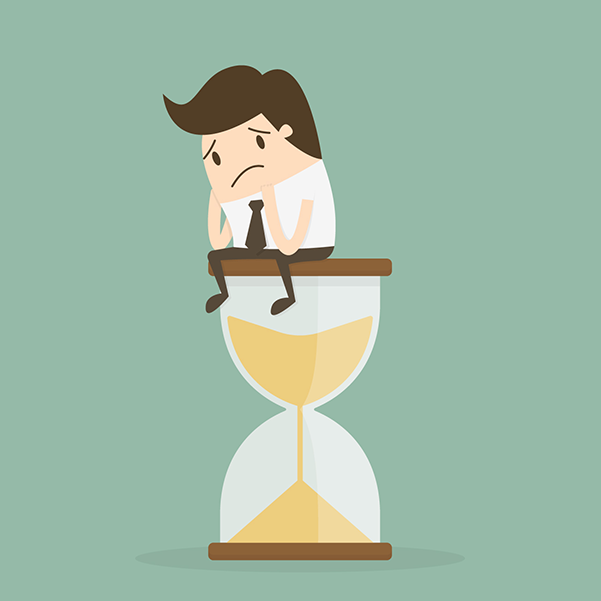 cartoon image of a sad businessman sitting on top of an hourglass